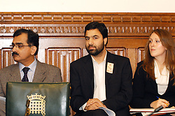 LONDON, 9 Nov. 2005...From left to right: Mohammad Akram, reporter Associate Press of Pakistan, Ulfat Zargar, Justice Foundation, Laura McAlpine, Policy and PR Coordinator, Justice Foundation Kashmir Centre....The Justice Foundation Kashmir Centre London together with the All-Party Parliamentary Group (APPG) on Kashmir organised a meeting in the House of Commons entitled ?Kashmir After the Earthquake ? Rebuilding Together.?