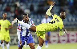 05102018 (Durban) Maritzburg United player Mohau Mokate fight for a ball during the game when Maritzburg United takes head on Cape Town City in an Absa Premiership match at theharry Gwala stadium in Pietermaritzburg on Friday night.<br /> Picture: Motshwari Mofokeng/African News Agency (ANA)