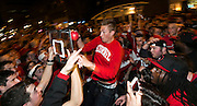 Badgers fans play a game of impromptu basketball after Wisconsin advances to the Final Four. (Photo © Andy Manis)