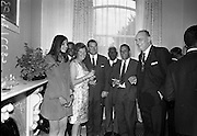 22/07/1967<br /> 07/22/1967<br /> 22 July 1967<br /> Reception at the Indian Embassy for Cricket team. The Indian team was on a tour of the British Isles and had played and beaten the Irish team the day before. Thomas Stafford, Lord Mayor of Dublin on right.
