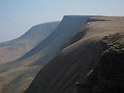 Bannau Sir Gaer.  Fan Foel (in distance with rounded top) & Picws Du (flat topped peak). Brecon Beacons, Wales