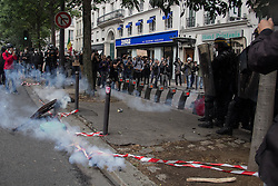 September 15, 2016 - Paris, France - paris's streets during the protests on September 15, 2016 . Parisians took out the streets this Thursday to make a new demonstration over the so controversial Labor Law reform in France. Thousands gathered at Place de la Bastille for a peaceful walk to Place de la République, but as is usual, an anarchist group clashed in a confrontation with police that lasted all the way. (Credit Image: © David Cordova/NurPhoto via ZUMA Press)