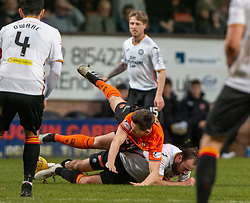 Dundee United's Lawrence Shankland and Partick Thistle's Stuart Bannigan. Dundee United 1 v 1 Partick Thistle, Scottish Championship game played 7/3/2020 at Dundee United's stadium Tannadice Park.