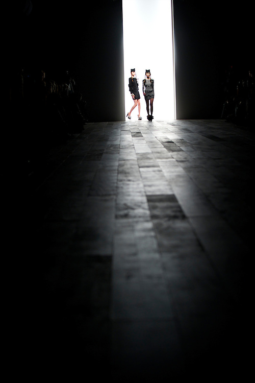 Models exhibit the PPQ autumn 2011 collection at the BFC Showspace at Somerset House in London on 18 February 2011.