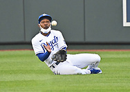 Kansas City Royals center fielder Jarrod Dyson (1) makes a sliding catch for an out during the second inning against the Toronto Blue Jays at Kauffman Stadium.