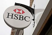 A sign hangs outside the HSBC bank, London.