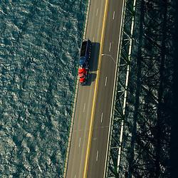 Aerial view of lake superior, mackinaw bridge, michigan