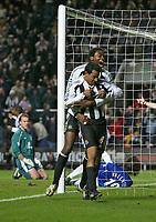 Photo: Andrew Unwin.<br />Newcastle United v Everton. The Barclays Premiership. 25/02/2006.<br />Newcastle's Nolberto Solano (R) celebrates his goal with Shola Ameobi (C).