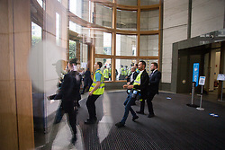© Licensed to London News Pictures.  03/09/2021. London, UK. Members of the security respond to anti-vaccine protesters who gather outside gather outside 20 Cabot Square in Canary Wharf, south London. Photo credit: Marcin Nowak/LNP