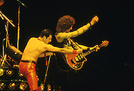 LOS ANGELES, CA - FEBRUARY 14: Freddie Mercury and Brian May of Queen in concert at The Forum February 14, 1980 in Los Angeles, California.