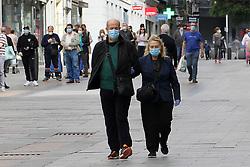 Daily life in Madrid, after new lockdown regulations in Spain, on May 02, 2020. Calle de Preciados in Madrid during the first day in which the general departures of almost the entire population are allowed, regulated by time bands. Two strips are established, in the morning and afternoon, so that those over 14 years old can go out to physically exercise individually or walk. These strips extend from 06:00 to 10:00 in the morning and from 20:00 to 23:00 at night. Separately and in attention to their special vulnerability, the strips between 10:00 a.m. and 12:00 p.m. and between 7:00 p.m. and 8:00 p.m. are defined specifically for the walks of people with special needs or those over 70 years. The walks with kids from 12:00 to 19:00. Health crisis due to the Covid-19 virus pandemic. Photo by Alejandro de Dios/AlterPhotos/ABACAPRESS.COM
