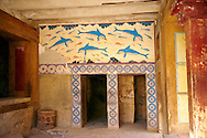 Arthur Evans reconstruction of  the Dolphin Frescos, Knossos Minoan archaeological site, Crete ..<br /> <br /> Visit our GREEK HISTORIC PLACES PHOTO COLLECTIONS for more photos to download or buy as wall art prints https://funkystock.photoshelter.com/gallery-collection/Pictures-Images-of-Greece-Photos-of-Greek-Historic-Landmark-Sites/C0000w6e8OkknEb8 <br /> .<br /> Visit our MINOAN ART PHOTO COLLECTIONS for more photos to download  as wall art prints https://funkystock.photoshelter.com/gallery-collection/Ancient-Minoans-Art-Artefacts-Antiquities-Historic-Places-Pictures-Images-of/C0000ricT2SU_M9w