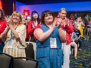10 AUGUST 2019 - DES MOINES, IOWA: People applaud Mayor Pete Buttigieg at the Presidential Gun Sense Forum. Several thousand people from as far away as Milwaukee, WI, and Chicago, came to Des Moines Saturday for the Presidential Gun Sense Forum. Most of the Democratic candidates for president attended the event, which was organized by Moms Demand Action, Every Town for Gun Safety, and Students Demand Action.          PHOTO BY JACK KURTZ