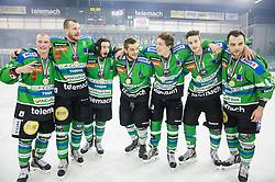 Miha Logar of Olimpija, Bostjan Groznik of Olimpija, David Planko of Olimpija, Zan Luka Spcic of Olimpija, Aljaz Chvatal of Olimpija, Andraz Zibelnik of Olimpija and Maks Selan of Olimpija celebrate after they became Slovenian National Champion 2016 after winning during ice hockey match between HDD Telemach Olimpija and HDD SIJ Acroni Jesenice in Final of Slovenian League 2015/16, on April 11, 2016 in Hala Tivoli, Ljubljana, Slovenia. Photo by Vid Ponikvar / Sportida