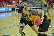 March 17, 2016: Arizona State Sun Devils forward Kelsey Moos (24) drives past her teammate during the first practice day of the 2016 NCAA Division I Women's Basketball Championship first round in Tempe, Ariz.