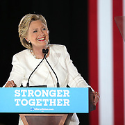 Democratic Presidential nominee Hillary Clinton campaigns at the Sanford Civic Center in Sanford, Florida USA on12 Feb 2016.