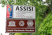Road Sign for Assisi, Umbria, Italy