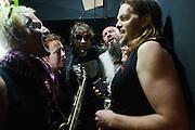 Kultur Shock (Val Kiossovski, Amy Denio, Guy Davis, Srdjan 'Gino' Jevdjevic, Paris Hurley and Chris Stromquist) warm up backstage minutes before performing at the DFK Club in Banja Luka, Bosnia and Herzegovina...
