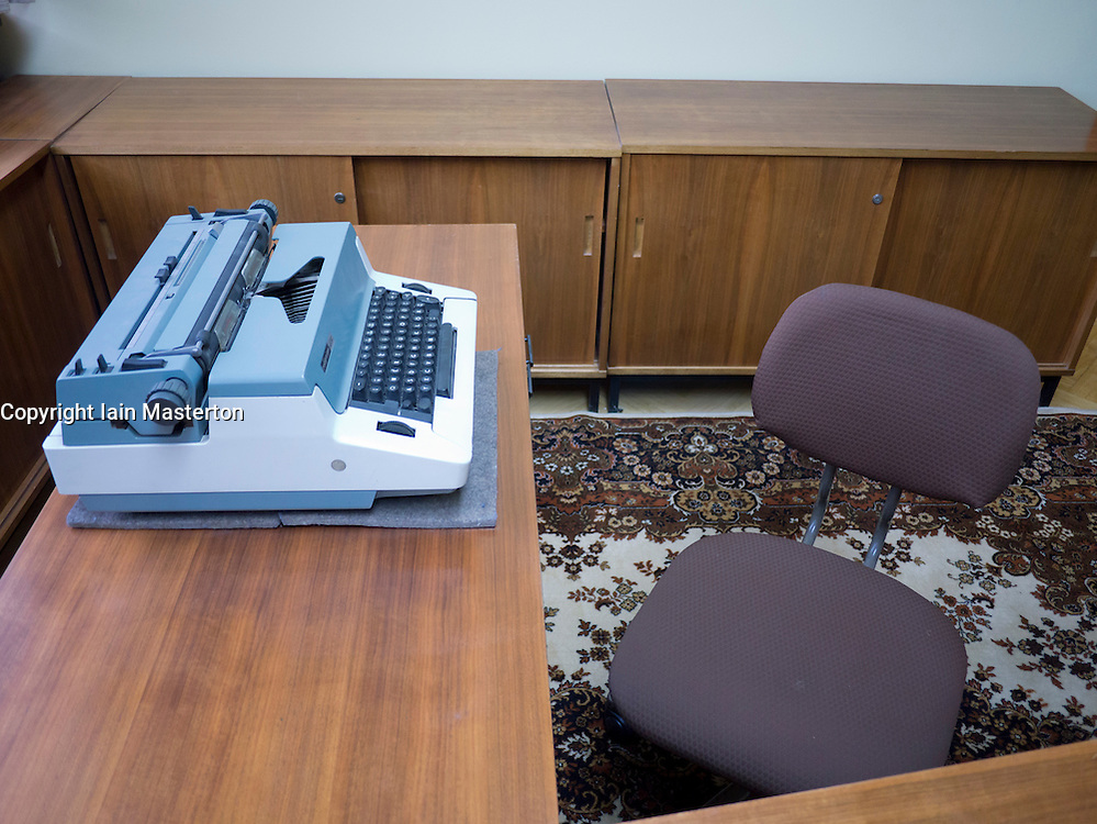 Details from original office of Erich Mielke's chief secretary at the former STASI or state secret police headquarters now museum in Berlin Germany
