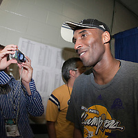 14 June 2009: Kobe Bryant of the Los Angeles Lakers celebrates after game 5 of the 2009 NBA Finals won 99-86 by the Los Angeles Lakers over the Orlando Magic at Amway Arena, in Orlando, Florida, USA. Kobe Bryant scores 30 points and leads the Lakers to15th Championship.