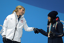 February 15, 2018 - Pyeongchang, South Korea - MIKAELA SHIFFRIN of the United States and FEDERICA BRIGNONE of Italy during the medal presentation for the Ladies' Giant Slalom event in the PyeongChang Olympic games. (Credit Image: © Christopher Levy via ZUMA Wire)
