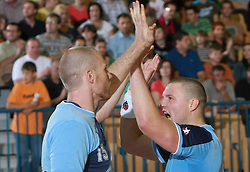 Ales Pajovic and Rok Praznik of Slovenia at  handball game between men national teams of Slovenia and Slovakia, first qualification game for the World Chamionship 2009, on June 7, 2008, in Arena Zlatorog, Celje, Slovenija. Result: 33 : 33. (Photo by Vid Ponikvar / Sportal Images)