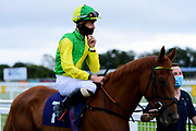Ruskin Red ridden by Michael Pitt and trained by Denis Coakley ridden in the Sky Sports Racing Sky 415 Novice Stakes - Mandatory by-line: Ryan Hiscott/JMP - 24/08/20 - HORSE RACING - Bath Racecourse - Bath, England - Bath Races