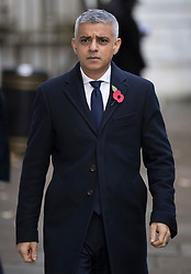 © Licensed to London News Pictures. 12/11/2017. London, UK. London Mayor Sadiq Khan walks through Downing Street to attend the Remembrance Sunday Ceremony at the Cenotaph in Whitehall. Photo credit: Peter Macdiarmid/LNP