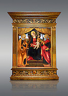 Gothic altarpiece of Madonna and Child with St Peter and Paul by Vicenzo Frediani, circa 1490, tempera and gold leaf on wood.  National Museum of Catalan Art, Barcelona, Spain, inv no: MNAC  64978. . .<br /> <br /> If you prefer you can also buy from our ALAMY PHOTO LIBRARY  Collection visit : https://www.alamy.com/portfolio/paul-williams-funkystock/gothic-art-antiquities.html  Type -     MANAC    - into the LOWER SEARCH WITHIN GALLERY box. Refine search by adding background colour, place, museum etc<br /> <br /> Visit our MEDIEVAL GOTHIC ART PHOTO COLLECTIONS for more   photos  to download or buy as prints https://funkystock.photoshelter.com/gallery-collection/Medieval-Gothic-Art-Antiquities-Historic-Sites-Pictures-Images-of/C0000gZ8POl_DCqE