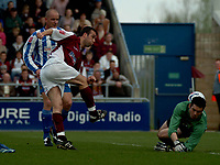Photo: Ian Hebden.<br />Northampton Town v Chester City. Coca Cola League 2. 29/04/2006.<br />Northamptons Scott McGleish (L) shot is saved by Chesters  Chris McKenzie (R).