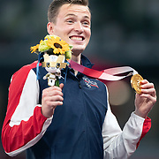 TOKYO, JAPAN August 3:  Karsten Warholm of Norway on the podium after receiving his gold medal for his victory in the Men's 400m Hurdles in a new world record time of 45.94 at the Olympic Stadium during the Tokyo 2020 Summer Olympic Games on August 3rd, 2021 in Tokyo, Japan. (Photo by Tim Clayton/Corbis via Getty Images)