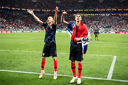 July 11, 2018 - Moscow, Russia - 180711 Domagoj Vida and Mario Mandzukic of Croatia cdlebrate after winning the FIFA World Cup semi final match between Croatia and England on July 11, 2018 in Moscow..Photo: Petter Arvidson / BILDBYRÃ…N / kod PA / 92085 (Credit Image: © Petter Arvidson/Bildbyran via ZUMA Press)