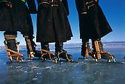 Homemade ice skates<br /> Lake Hovskol<br /> Northern Mongolia