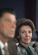 Nancy Reagan watches her husband during the 1976 campaign,..Photograph by Dennis Brack BB31