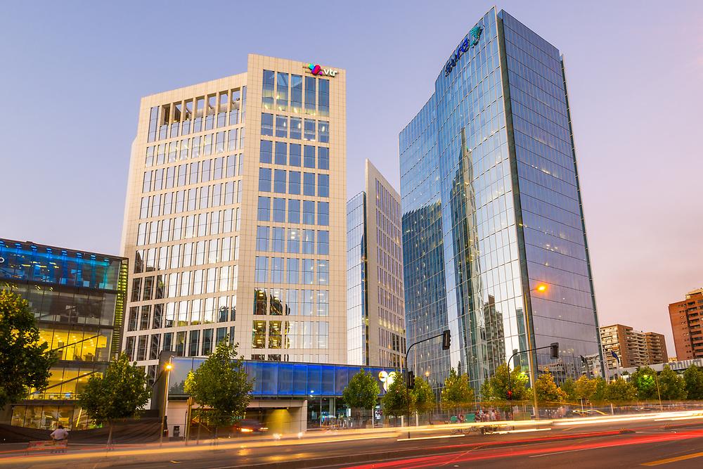 Santiago de Chile, Región Metropolitana, Las Condes, Chile, South America - Modern corporate buildings in Apoquindo Avenue at the wealthy district of Las Condes in Santiago.