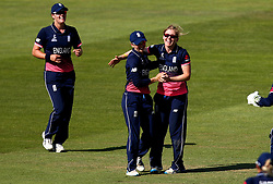 Heather Knight of England Women and Fran Wilson of England celebrate after combining to take the wicket of Mignon du Preez of South Africa Women - Mandatory by-line: Robbie Stephenson/JMP - 05/07/2017 - CRICKET - County Ground - Bristol, United Kingdom - England Women v South Africa Women - ICC Women's World Cup Group Stage