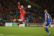 Federico Macheda of Cardiff city in action. Skybet football league championship match, Cardiff city v Ipswich Town at the Cardiff city stadium in Cardiff, South Wales on Tuesday 21st October 2014<br /> pic by Andrew Orchard, Andrew Orchard sports photography.
