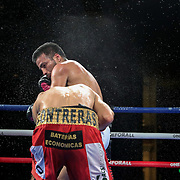 Ramon Cardenas punches Angel Contreras during a One For All Promotions boxing event at the Caribe Royale Orlando Events Center on Saturday, February 20, 2021 in Orlando, Florida. (Alex Menendez via AP)