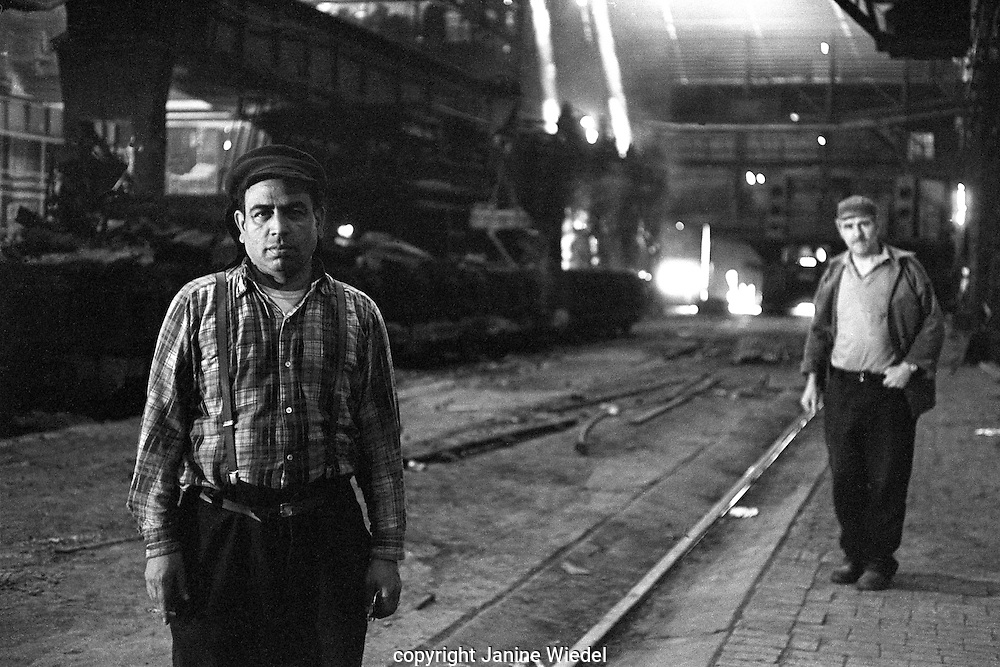 Furnace operatives in Melting Shop Furnace Bay.Bilston Steelworks Open Hearth furnace  in the Black Country West Midlands in the 1978
