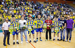 Luka Zvizej, Vid Poteko, Blaz Janc, Povilas Babarskas, Ivan Gajic, Miha Zarabec and Arthur Patrianova during trophy ceremony after handball match between RK Celje Pivovarna Lasko and RK Gorenje Velenje in Last Round of 1. Liga NLB 2016/17, on June 2, 2017 in Arena Zlatorog, Celje, Slovenia. Photo by Vid Ponikvar / Sportida