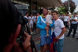 Primoz Kozmus with fans during reception of Slovenian Olympic team, on August 10, 2012 in Airport Joze Pucnik, Brnik, Slovenia.  (Photo by Matic Klansek Velej / Sportida)