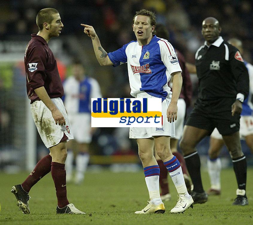 Photo: Aidan Ellis.<br /> Blackburn Rovers v Arsenal. The Barclays Premiership. 25/02/2006.<br /> Blackburn's craig Bellamy accuses Arsenal's Mathieu Flamini of diving