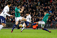Tottenham Hotspur forward Son Heung-Min (7) has a shot on goal during the Premier League match between Tottenham Hotspur and West Bromwich Albion at Wembley Stadium, London, England on 25 November 2017. Photo by Andy Walter.