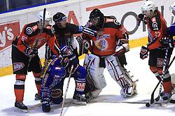 Kovacevic Sabahudin (86), Gaber Glavic (30) and Miha Rebolj (27) at ice hockey match Acroni Jesencie vs EC Pasut VSV in EBEL League,  on November 23, 2008 in Arena Podmezaklja, Jesenice, Slovenia. (Photo by Vid Ponikvar / Sportida)