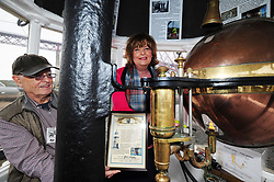 Fiona-Hyslop_North-Queensferry-Pier_24-04-2019<br /> <br /> Fiona Hyslop lights the lamp with help from Jim Henderson<br /> <br /> (c) David Wardle | Edinburgh Elite media