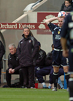 Photo: Leigh Quinnell.<br /> Coventry City v Leeds United. Coca Cola Championship. 18/03/2006. Coventrys boss Micky Adams watches Leeds Stephen Crainey take a throw in.
