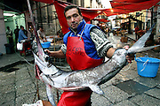 Alberto the fishmonger moves a swordfish in the Capo Market in Palermo, Italy. (From a photographic gallery of fish images, in Hungry Planet: What the World Eats, p. 204).