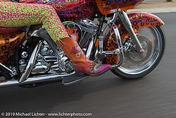 Diva Amy Skaling riding to Craig Gacom's Rusty Ranch on Thursday of Arizona Bike Week 2014. USA. April 4, 2014.  Photography ©2014 Michael Lichter.