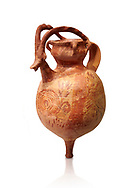 The Minoan decorated terracotta jug with elaborate goats head and horns, Palaikastro,  1500-1450 BC; Heraklion Archaeological  Museum, white background .<br /> <br /> If you prefer to buy from our ALAMY PHOTO LIBRARY  Collection visit : https://www.alamy.com/portfolio/paul-williams-funkystock/minoan-art-artefacts.html . Type -   Heraklion   - into the LOWER SEARCH WITHIN GALLERY box. Refine search by adding background colour, place, museum etc<br /> <br /> Visit our MINOAN ART PHOTO COLLECTIONS for more photos to download  as wall art prints https://funkystock.photoshelter.com/gallery-collection/Ancient-Minoans-Art-Artefacts-Antiquities-Historic-Places-Pictures-Images-of/C0000ricT2SU_M9w