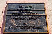 Hopi House National Historic Landmark plaque, Grand Canyon National Park, Arizona USA